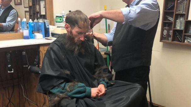 PHOTO: Johnny Bobbitt received a haircut due to the generosity of Kate McClure, who raised more than $360,000 after Bobbitt helped her on the side of the road. (ABC News)