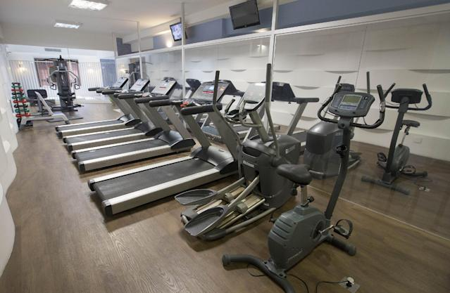 A view of the fitness room at the Mendes Plaza Hotel where Costa Rica's 2014 World Cup team will stay during the World Cup in Santos, Brazil, Wednesday, Feb. 12, 2014. (AP Photo/Andre Penner)