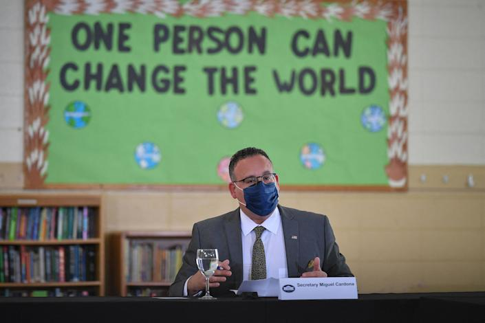 US Education Secretary Miguel Cardona take part in a roundtable discussion at the Boys & Girls Club of New Haven in New Haven, Connecticut on March 26, 2021. (Photo by MANDEL NGAN / AFP) (Photo by MANDEL NGAN/AFP via Getty Images)