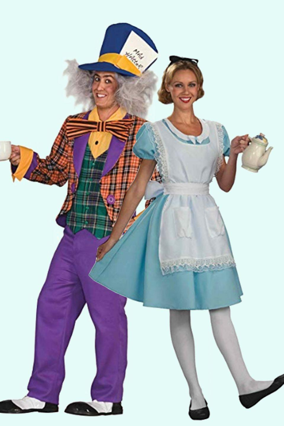 """<p>Although they aren't a couple in the story (thank goodness), these two <em><a href=""""https://www.amazon.com/Alice-Wonderland-Kathryn-Beaumont/dp/B004IQ78HA/?tag=syn-yahoo-20&ascsubtag=%5Bartid%7C10055.g.2625%5Bsrc%7Cyahoo-us"""" rel=""""nofollow noopener"""" target=""""_blank"""" data-ylk=""""slk:Alice in Wonderland"""" class=""""link rapid-noclick-resp"""">Alice in Wonderland</a> </em>characters make a fun and instantly recognizable pair.</p><p><a class=""""link rapid-noclick-resp"""" href=""""https://www.amazon.com/Forum-Alice-Wonderland-Costume-Standard/dp/B004RHNENW?th=1&psc=1&tag=syn-yahoo-20&ascsubtag=%5Bartid%7C10055.g.2625%5Bsrc%7Cyahoo-us"""" rel=""""nofollow noopener"""" target=""""_blank"""" data-ylk=""""slk:SHOP ALICE COSTUME"""">SHOP ALICE COSTUME</a></p><p> <a class=""""link rapid-noclick-resp"""" href=""""https://www.amazon.com/Forum-Wonderland-Hatter-Costume-Purple/dp/B003IBT7AM/ref=sr_1_33_sspa?s=toys-and-games&ie=UTF8&qid=1535571685&sr=1-33-spons&keywords=MAD+HATTER+HAT&psc=1&tag=syn-yahoo-20&ascsubtag=%5Bartid%7C10055.g.2625%5Bsrc%7Cyahoo-us"""" rel=""""nofollow noopener"""" target=""""_blank"""" data-ylk=""""slk:SHOP MAD HATTER COSTUME"""">SHOP MAD HATTER COSTUME</a></p>"""