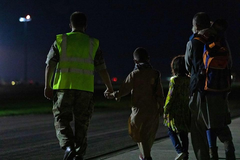 Arrivals at RAF Brize Norton who have been evacuated from Afghanistan (Cpl Will Drummee RAF/MOD/Crown copyright) (PA Media)