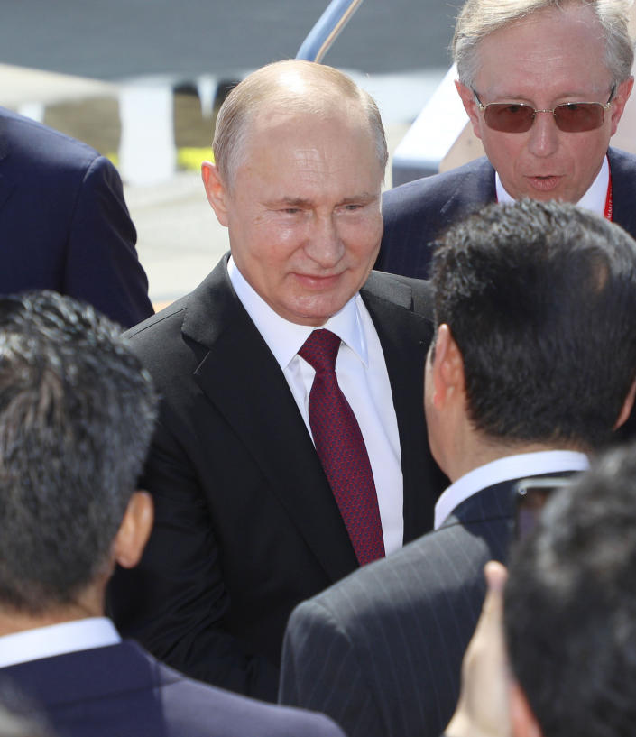 Mr Putin made the comments in an interview ahead of the G20 summit.(Picture: Kyodo News via AP)