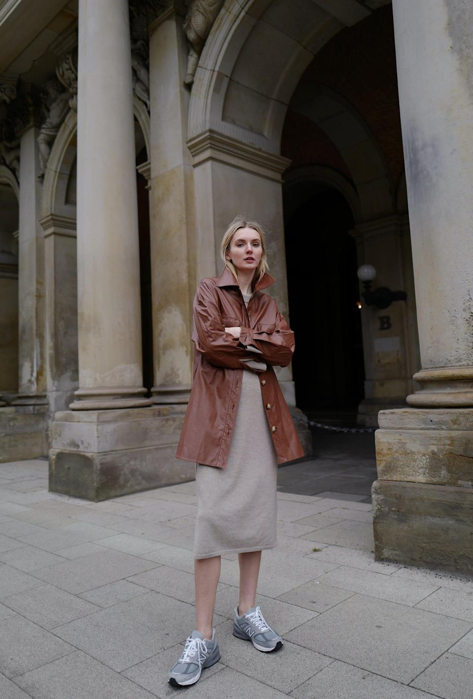<p>This simple dress/sneaker pairing looks pulled together when you add texture, like a leather button-down.</p>