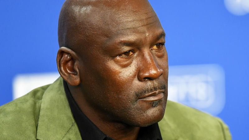 NBA legend and Charlotte Hornets owner Michael Jordan is pictured during a press conference.