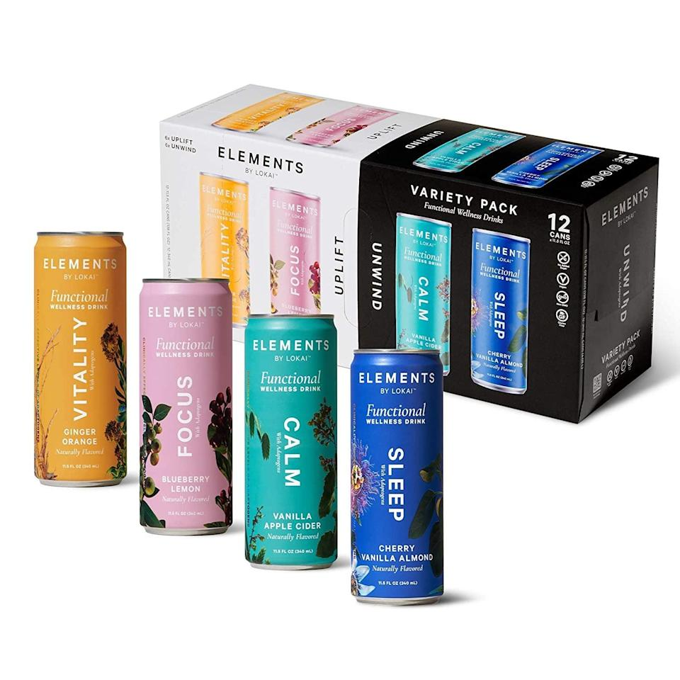 <p>The plant-based <span>Variety Functional Wellness Drinks by Elements</span> ($42 for 12) has an adaptogenic beverage for your mood and needs. Choose between calm, sleep, focus, and vitality to incorporate into your daily life. </p>