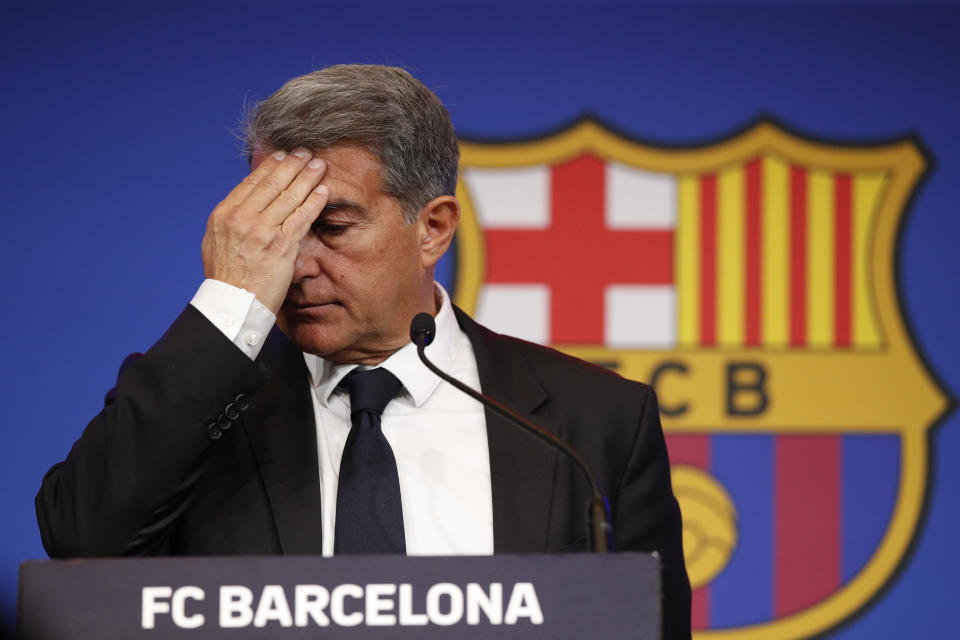 Soccer Football - FC Barcelona Press Conference - Auditorium 1899 near the Camp Nou, Barcelona, Spain - May 28, 2021 FC Barcelona president Joan Laporta during the press conference REUTERS/Albert Gea