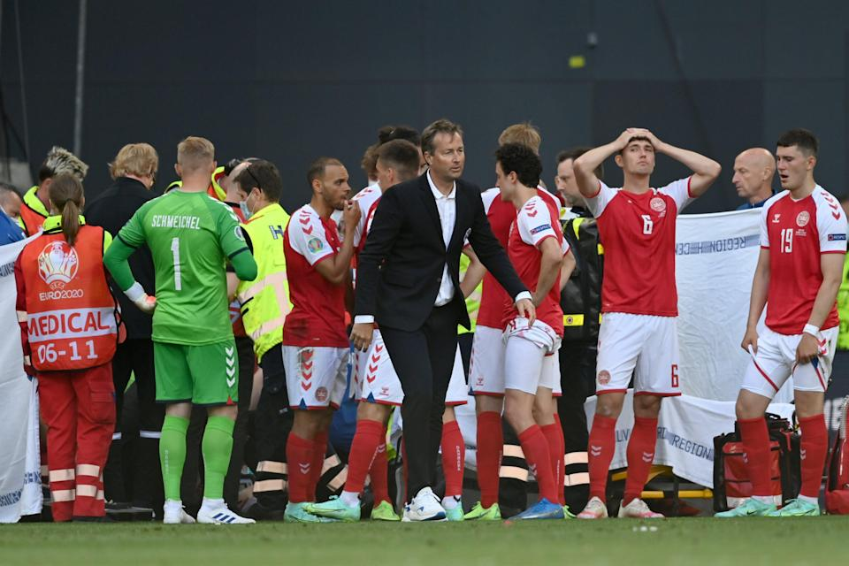 Kasper Hjulmand, centre, feels his players were not treated with