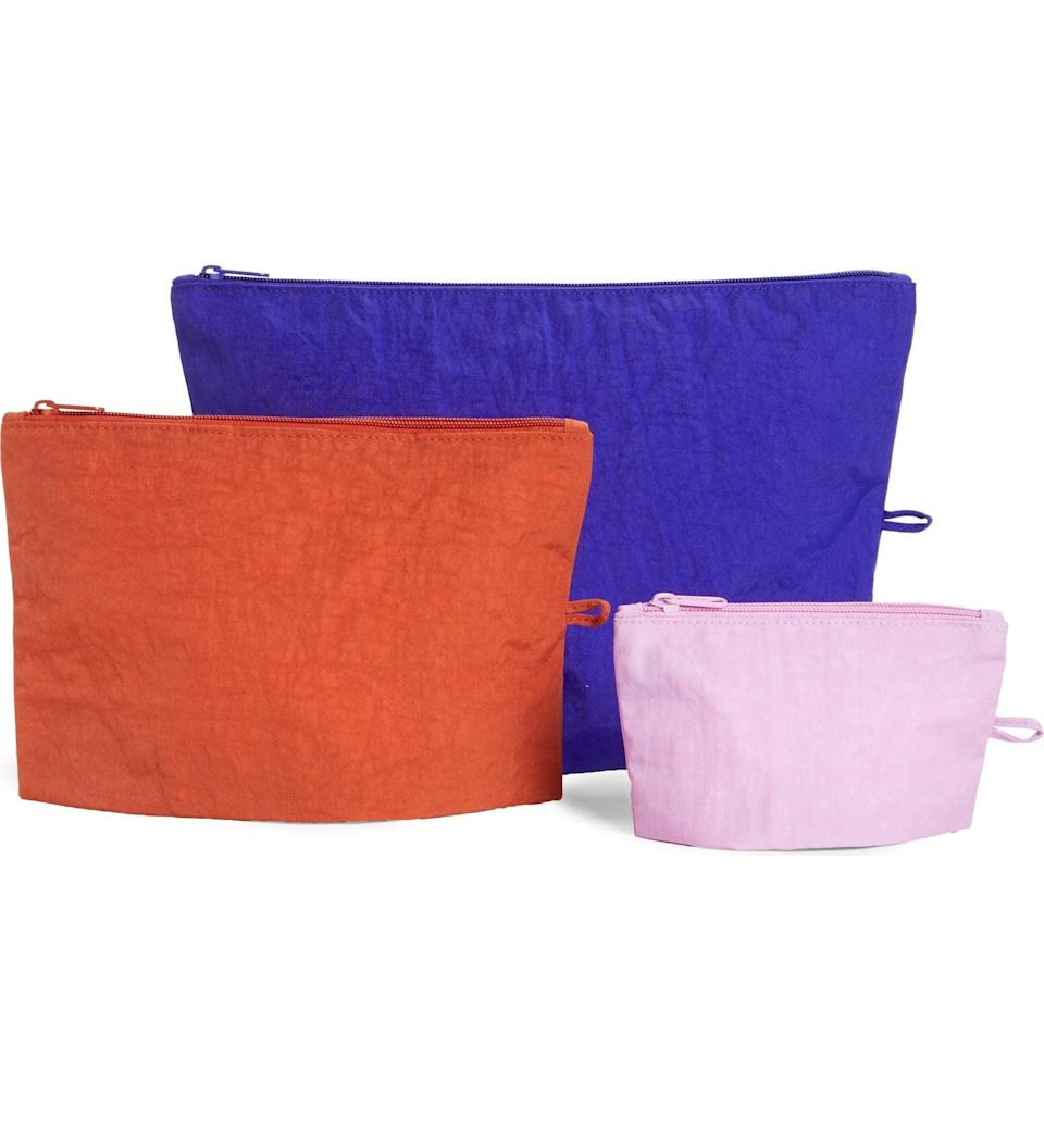 <p>Get this <span>Baggu Go Set of 3 Nylon Zip Pouches</span> ($38) for the person who loves being organized.</p>