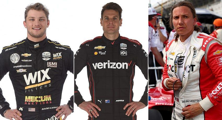 Sage Karam (from left), Will Power and Simona de Silvestro, Row 11 for the 2021 Indianapolis 500.