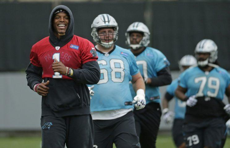 Panthers QB Cam Newton is recovering from shoulder surgery he had in March. (AP)