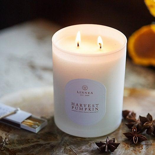 """<h3>Linnea's Lights Harvest Pumpkin Candle </h3><br>Crafted from soy wax infused with pumpkin and herb fragrance oil, one repeat purchaser describes this candle as a """"Great fall candle,"""" that has, """"such a soft pumpkin/spice/warm scent without being overwhelming.""""<br><br><em>Shop <a href=""""https://www.shopterrain.com/products/linneas-lights-pumpkin-candle"""" rel=""""nofollow noopener"""" target=""""_blank"""" data-ylk=""""slk:Terrain"""" class=""""link rapid-noclick-resp""""><strong>Terrain</strong></a></em><br><br><strong>Linnea</strong> Harvest Pumpkin, $, available at <a href=""""https://go.skimresources.com/?id=30283X879131&url=https%3A%2F%2Fwww.shopterrain.com%2Fproducts%2Flinneas-lights-pumpkin-candle"""" rel=""""nofollow noopener"""" target=""""_blank"""" data-ylk=""""slk:Terrain"""" class=""""link rapid-noclick-resp"""">Terrain</a>"""