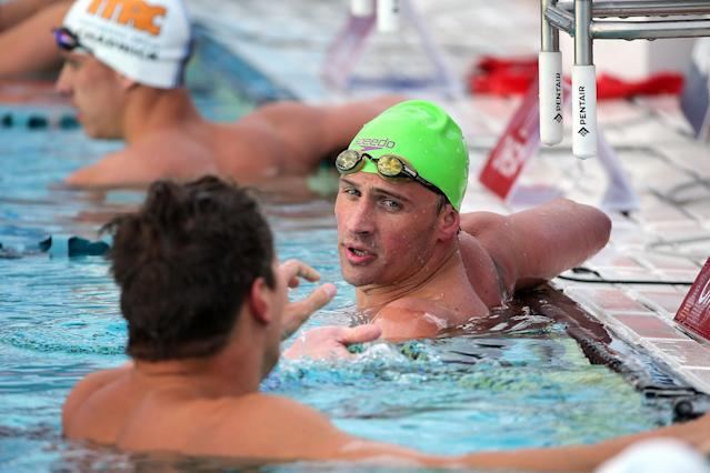MESA, AZ - APRIL 16: Ryan Lochte reacts after finishing last the final of the men's 100 meter freestyle at the Skyline Aquatic Center on April 16, 2016 in Mesa, Arizona. (Photo by Chris Coduto/Getty Images)