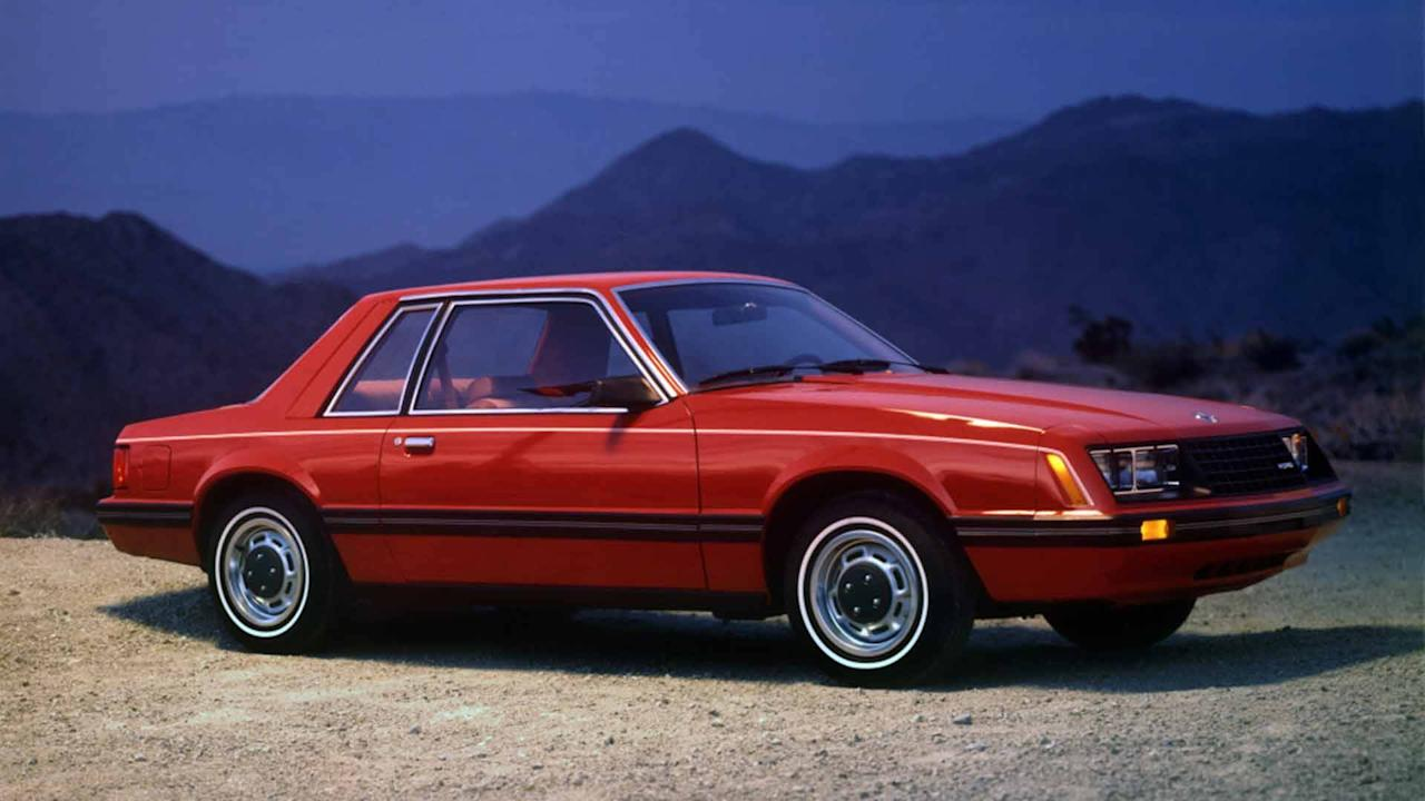 "<p><strong>88-hp 2.3-liter naturally aspirated four-cylinder</strong></p> <p>Launched for the 1979 model year, the early period for the Fox-body <a rel=""nofollow"" href=""https://www.motor1.com/ford/mustang/"">Ford Mustang</a> was a pale comparison to its end when Vanilla Ice boasted about his convertible on ""Rollin in My 5.0."" The base model for 1980 came with a 2.3-liter four-cylinder producing a less-than-exciting 88 horsepower and 119 pound-feet of torque. Acceleration could best be described as lackadaisical.</p> <p>The styling wasn't very exciting either, particularly the notchback. The three-box shape looked like a boring economy car, rather than something ready to melt the rear tires at a moment's notice.</p>"