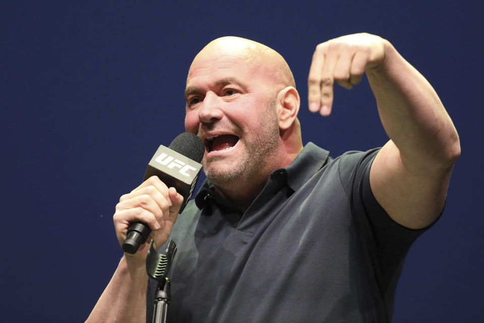 Dana White speaks at a news conference for the UFC 244 mixed martial arts event, Thursday, Sept. 19, 2019, in New York. Jorge Masvidal is scheduled to fight Nate Diaz Saturday, November 2 at Madison Square Garden. (AP Photo/Gregory Payan)