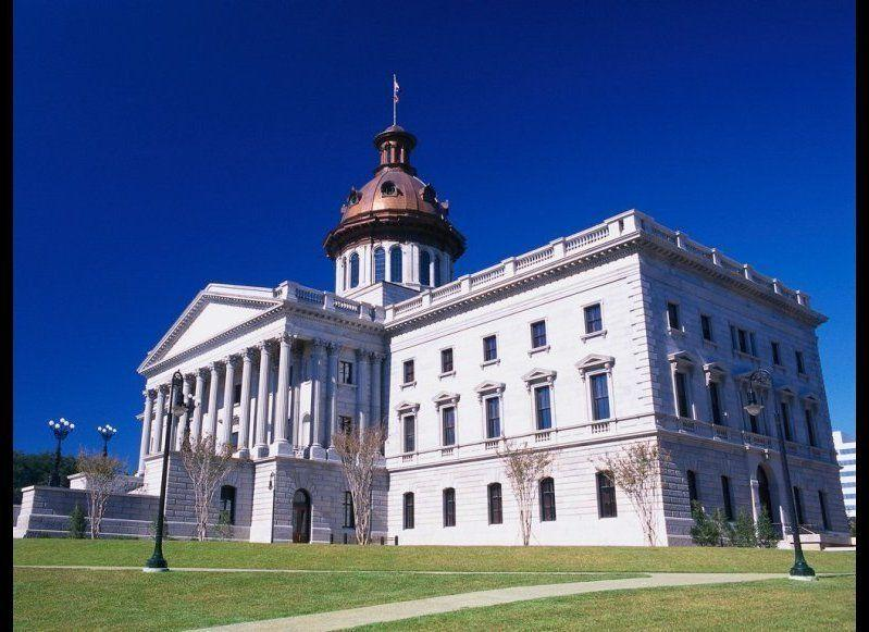 <strong>SOUTH CAROLINA STATE HOUSE </strong>Columbia, South Carolina <strong>Year completed: </strong>1903 <strong>Architectural style:</strong> Greek Revival <strong>FYI:</strong> On the outside of the capitol, six bronze, star-shaped markers denote the spots where the building was hit with artillery during General Sherman's Civil War march. <strong>Visit: </strong>Guided tours are offered weekdays, from 9 a.m. to 5 p.m. Reservations are recommended for groups.