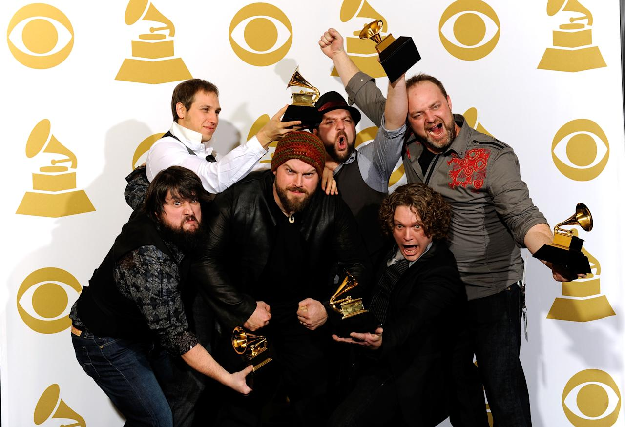 LOS ANGELES, CA - JANUARY 31:  Zac Brown Band pose with Best New Artist award in the press room during the 52nd Annual GRAMMY Awards held at Staples Center on January 31, 2010 in Los Angeles, California.  (Photo by Kevork Djansezian/Getty Images)
