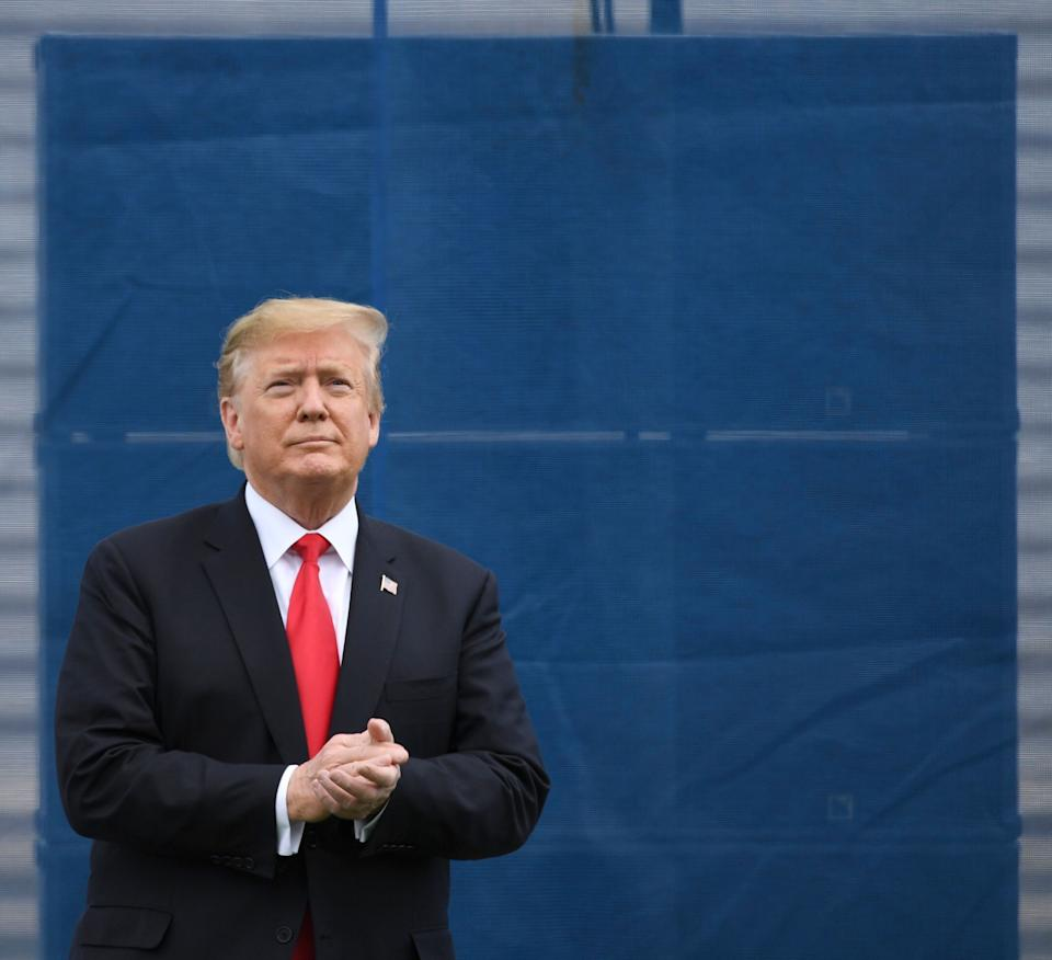 """COLORADO SPRINGS CO - MAY 30: President Donald J. Trump arrives for the 2019 United States Air Force Academy Graduation Ceremony, at the Academy""""u2019s Falcon Stadium, on May 30, 2019 in Colorado Springs, Colorado. (Photo by  RJ Sangosti/MediaNews Group/The Denver Post via Getty Images)"""