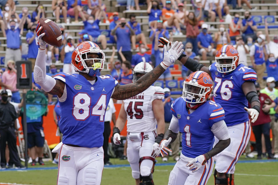 Florida tight end Kyle Pitts (84) has six touchdown catches in two games in 2020. (AP Photo/John Raoux, Pool)