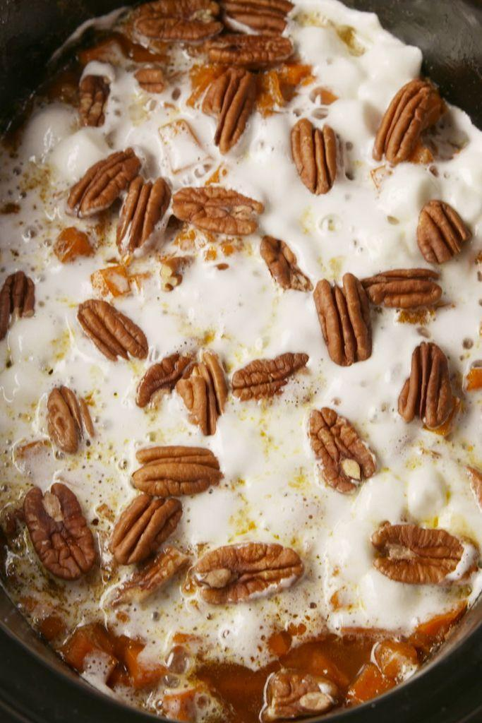 """<p>Sweet potato topped with marshmallows and pecans ... Need we say more? </p><p><em><a href=""""https://www.delish.com/cooking/recipe-ideas/a56583/crock-pot-sweet-potato-casserole-recipe/"""" rel=""""nofollow noopener"""" target=""""_blank"""" data-ylk=""""slk:Get the recipe from Delish »"""" class=""""link rapid-noclick-resp"""">Get the recipe from Delish »</a></em></p>"""