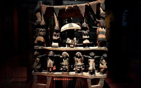 Royal Seat of the Kingdom of Dahomey, from the early 19th century, one of the artifacts Benin has asked France to return - Credit: GERARD JULIEN/AFP
