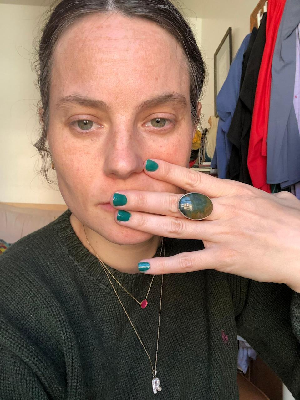 "<h2>Olive & June Besties Nail Polish</h2><br>""I gotta be honest, this type of emerald green is usually not my preferred nail color, but I tried it recently at the behest of our beauty editor Karina Hoshikawa and I was pleasantly surprised at how much I liked it. This (at-home) paint job is fresh, but I know from previous forays into the world of Olive & June that it's got staying power. Plus, the LA brand's long-wearing nail varnish is ""7-free"" — meaning it doesn't contain any of common nail polish toxins, including toluene, dibutyl phthalate, formaldehyde, formaldehyde resin, camphor, ethyl tosylamide, and xylene."" <em>– Emily Ruane, Fashion Writer</em><br><br><em>Shop <strong><a href=""https://oliveandjune.com/collections/nail-polish/products/besties"" rel=""nofollow noopener"" target=""_blank"" data-ylk=""slk:Olive & June"" class=""link rapid-noclick-resp"">Olive & June</a></strong></em><br><br><strong>Olive & June</strong> Besties Nail Polish, $, available at <a href=""https://go.skimresources.com/?id=30283X879131&url=https%3A%2F%2Foliveandjune.com%2Fcollections%2Fnail-polish%2Fproducts%2Fbesties"" rel=""nofollow noopener"" target=""_blank"" data-ylk=""slk:Olive & June"" class=""link rapid-noclick-resp"">Olive & June</a>"