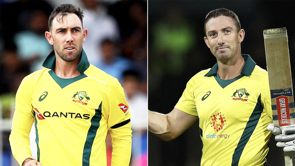 Glenn Maxwell (pictured left) after bowling and Shaun Marsh (pictured right) raising his bat in celebration.