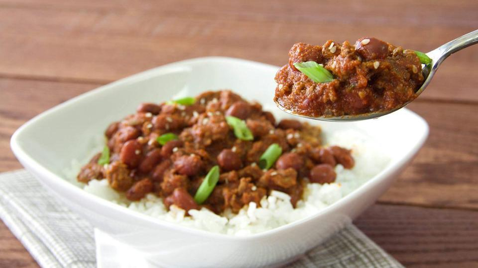"""<p>Liven up the flavors of your typical chili with traditional Korean ingredients such as soy sauce, rice vinegar, garlic, ginger and ground red pepper.</p> <p><a href=""""http://thedailymeal.com/recipes/korean-bbq-chili?referrer=yahoo&category=beauty_food&include_utm=1&utm_medium=referral&utm_source=yahoo&utm_campaign=feed"""" rel=""""nofollow noopener"""" target=""""_blank"""" data-ylk=""""slk:For the Korean BBQ Chili recipe, click here"""" class=""""link rapid-noclick-resp"""">For the Korean BBQ Chili recipe, click here</a>.</p>"""