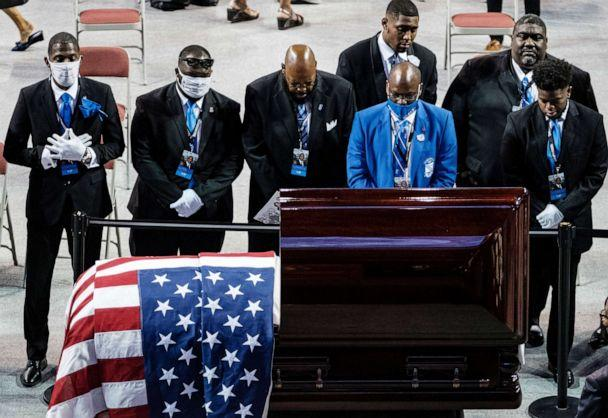 PHOTO: Members of the Phi Beta Sigma fraternity pay their respects to civil rights leader and Democratic Rep. John Lewis, at a memorial service in his hometown of Troy, Ala., July 25, 2020. (Dan Anderson/EPA via Shutterstock)