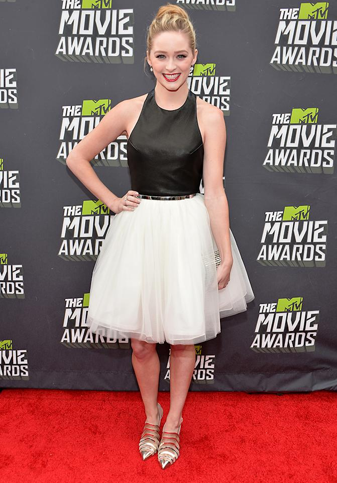 CULVER CITY, CA - APRIL 14:  Actress Greer Grammer arrives at the 2013 MTV Movie Awards at Sony Pictures Studios on April 14, 2013 in Culver City, California.  (Photo by Alberto E. Rodriguez/Getty Images)