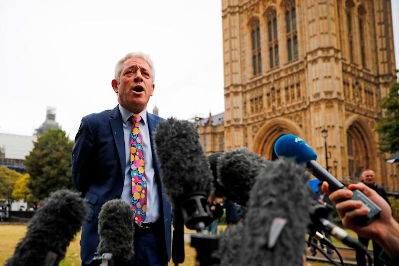 John Bercow addresses reporters outside the Houses of Parliament (AFP/Getty Images)