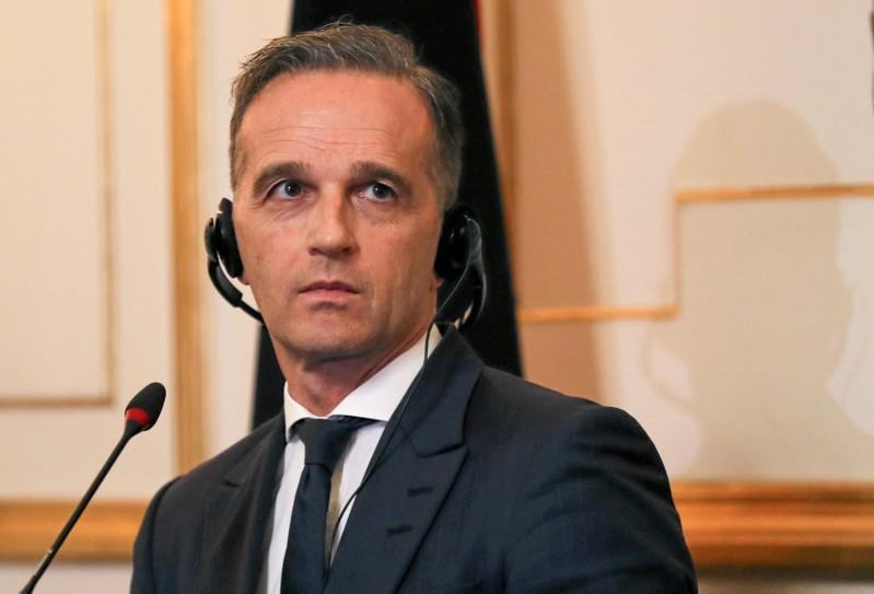 FILE PHOTO: German Foreign Minister Heiko Maas listens during a press conference in Cairo