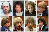 FILE PHOTO: Combination image of music producer Phil Spector wearing a variety of wigs during his murder trial