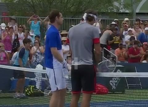 <span>Murray and Feliciano Lopez wait to shake hands with their opponents at the end of the match</span> <span>Credit: Amazon Prime Video </span>