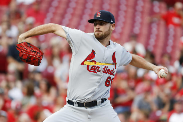 """<a class=""""link rapid-noclick-resp"""" href=""""/mlb/players/11006/"""" data-ylk=""""slk:Austin Gomber"""">Austin Gomber</a> was a clean inning away from a seriously weird coincidence. (AP Photo)"""