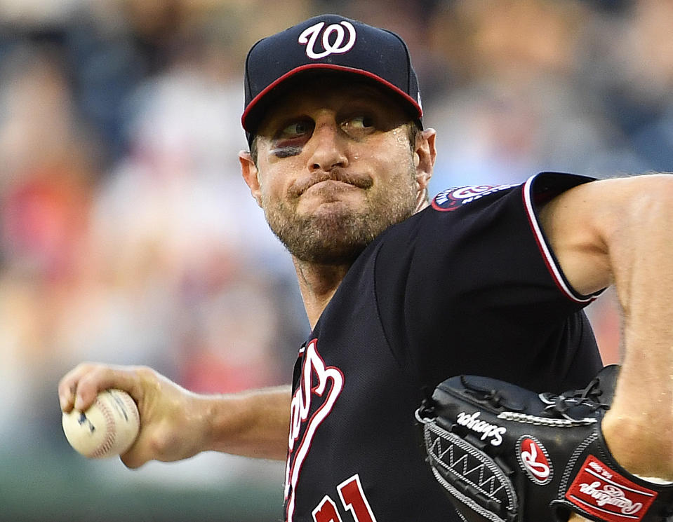 Despite having a broken nose and massive black eye, Max Scherzer opted to take the mound against the Phillies Wednesday -- and he pitched a gem. (Reuters)