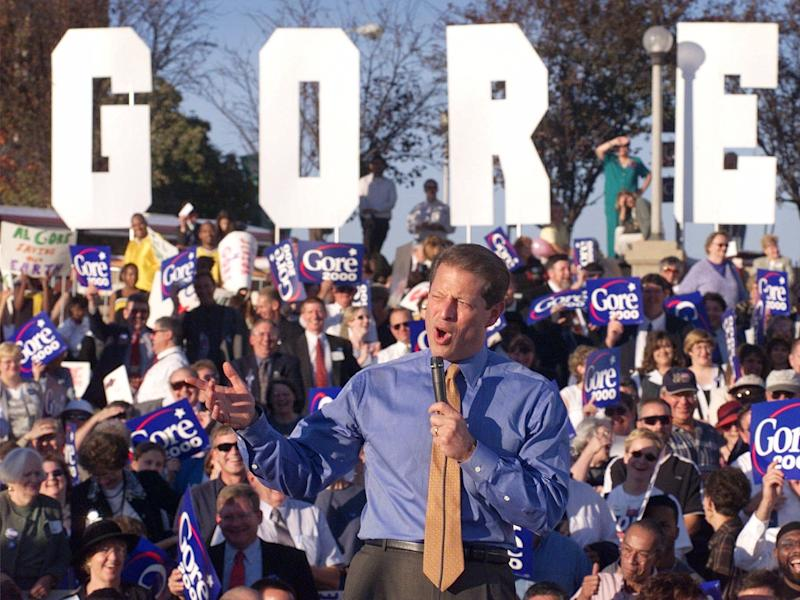 Vice President Al Gore speaks during a rally Saturday, Oct. 9, 1999, in Des Moines, Iowa.