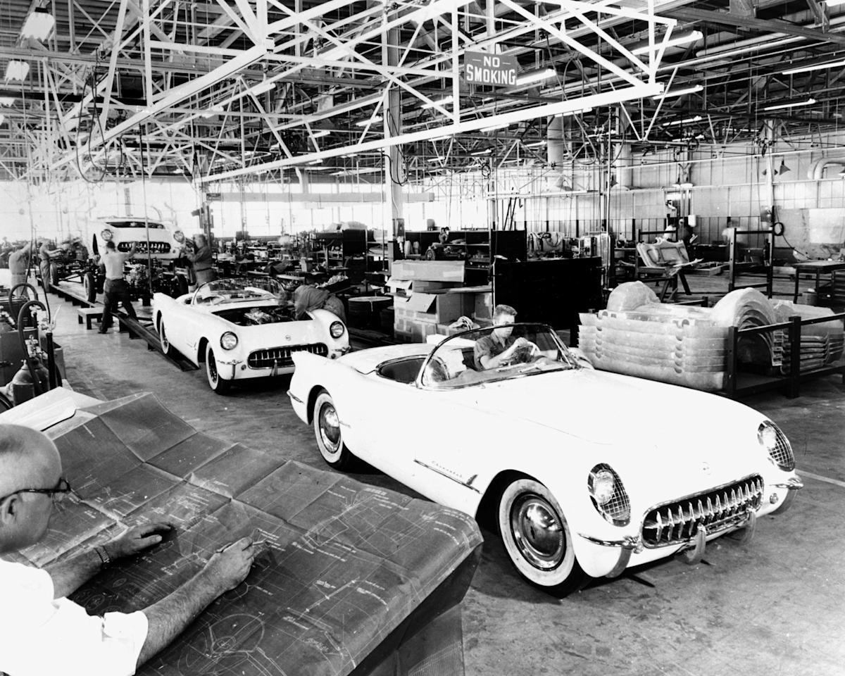 Assembly line for the 1953 Corvette. Photo: GM Media Archive