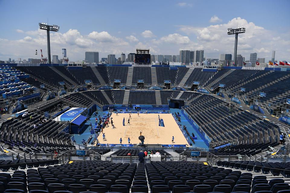 empty stands are seen in the women's preliminary beach volleyball pool C match between Brazil and Argentina during the Tokyo 2020 Olympic Games at Shiokaze Park in Tokyo on July 24, 2021. (Photo by Angela WEISS / AFP) (Photo by ANGELA WEISS/AFP via Getty Images)