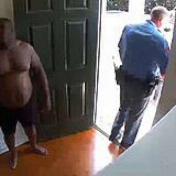 PHOTO: Security video shows Raleigh, North Carolina, homeowner Kazeem Oyeneyin, being returned to his home in just his underwear after he was handcuffed and placed in a police car when officers responded to a false burglary alarm on Aug. 17, 2019. (Kazeem Oyeneyin)