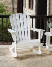 """<p><strong>POLYWOOD</strong></p><p>homedepot.com</p><p><strong>$249.00</strong></p><p><a href=""""https://go.redirectingat.com?id=74968X1596630&url=https%3A%2F%2Fwww.homedepot.com%2Fp%2FPOLYWOOD-Grant-Park-Plastic-Patio-Outdoor-Adirondack-Rocking-Chair-ADR440WH%2F312671277&sref=https%3A%2F%2Fwww.thepioneerwoman.com%2Fhome-lifestyle%2Fdecorating-ideas%2Fg36491091%2Foutdoor-rocking-chairs%2F"""" rel=""""nofollow noopener"""" target=""""_blank"""" data-ylk=""""slk:Shop Now"""" class=""""link rapid-noclick-resp"""">Shop Now</a></p><p>Love the look (and comfort!) of Adirondack chairs? Try this rocking chair version that will look charming on any porch or patio. It's made of polywood lumber, which means it'll withstand just about any weather conditions without cracking or rotting.</p>"""