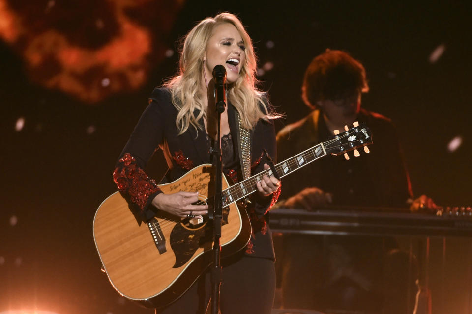 """FILE - In this April 15, 2018, file photo, Miranda Lambert performs """"Keeper of the Flame"""" at the 53rd annual Academy of Country Music Awards in Las Vegas. Lambert was nominated for a Grammy for best country album. Other nominees in that category include Brandy Clark, Ashley McBryde and Ingrid Andress. (Photo by Chris Pizzello/Invision/AP, File)"""