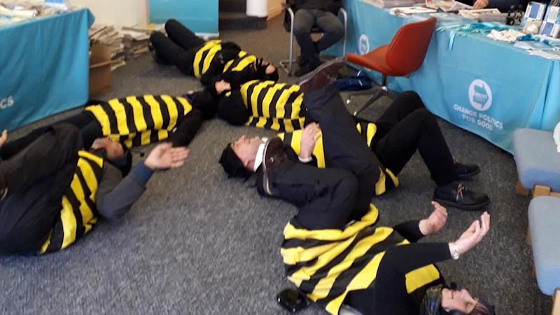 Exting-tion Rebellion: Protesters dressed as bees invade Brexit Party office