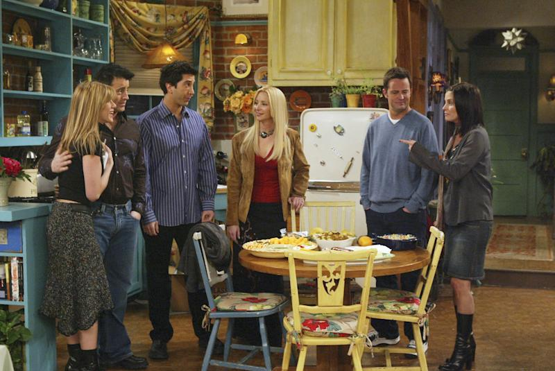 "FRIENDS -- ""The One with Rachel's Going Away Party"" -- Episode 16 -- Aired 4/29/2004 -- Pictured: (l-r) Matt LeBlanc as Joey Tribbiani, Jennifer Aniston as Rachel Green, Lisa Kudrow as Phoebe Buffay-Hannigan, David Schwimmer as Dr. Ross Geller, Matthew Perry as Chandler Bing, Courteney Cox as Monica Geller-Bing -- Photo by: NBCU Photo Bank"