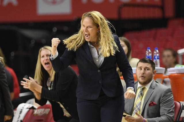 Maryland head coach Brenda Frese reacts during the first half the team's NCAA college basketball game against Wagner, Tuesday, Nov. 5, 2019, in College Park, Md. (AP Photo/Nick Wass)