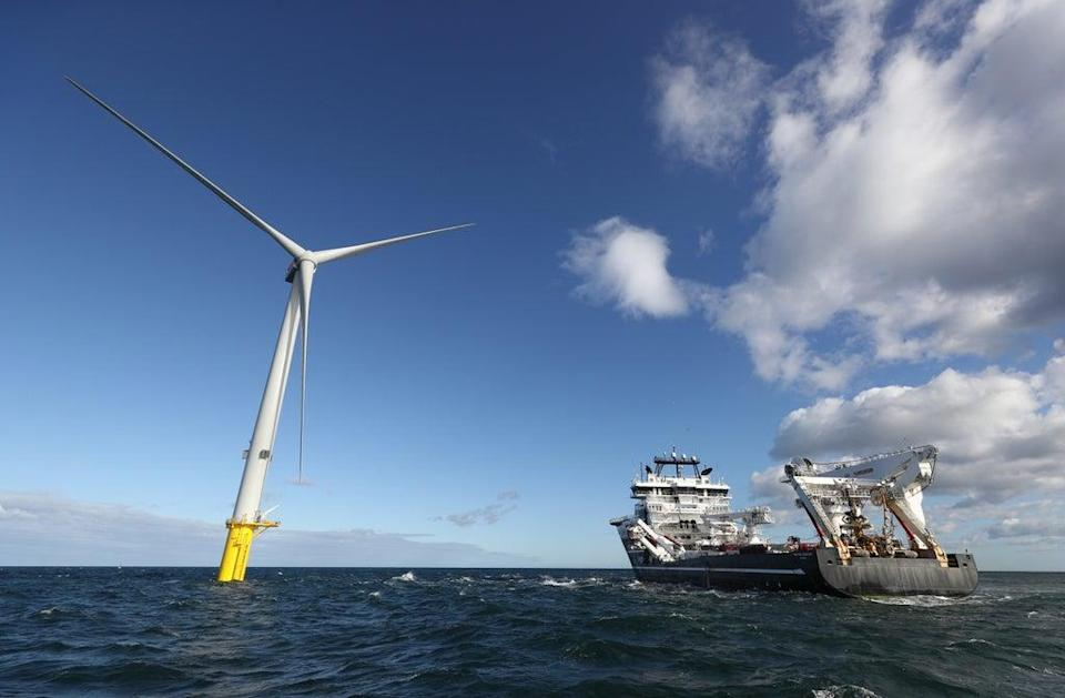A power cable being laid at an offshore wind farm (Owen Humphreys/PA) (PA Wire)