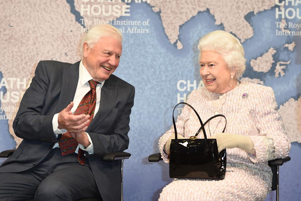 LONDON COLNEY, ENGLAND - NOVEMBER 20: Queen Elizabeth II presents the Chatham House Prize 2019 to Sir David Attenborough at the Royal institute of International Affairs, Chatham House on November 20, 2019 in London Colney, England. (Photo by Eddie Mulholland - WPA Pool/Getty Images)