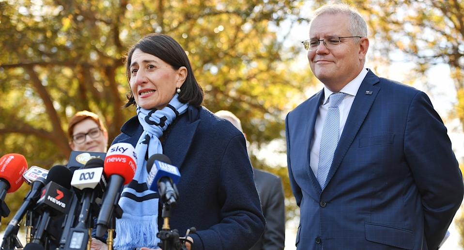 Prime Minister Scott Morrison is joined by NSW Premier Gladys Berejiklian during a press conference in Richmond, Sydney, June 7, 2021. Source: AAP