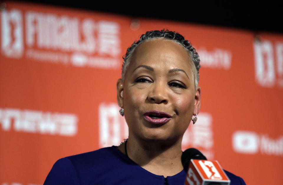 WNBA president Lisa Borders is stepping down to become the first-ever president and CEO of Time's Up. (AP Photo)
