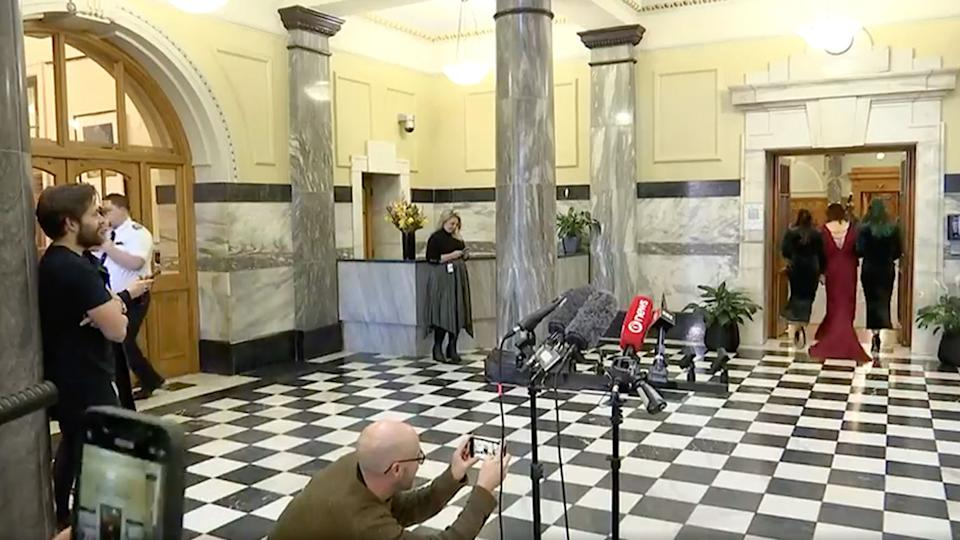 Ilam MP Sarah Pallett's wedding held up a New Zealand press conference on Friday. Source: 1 News