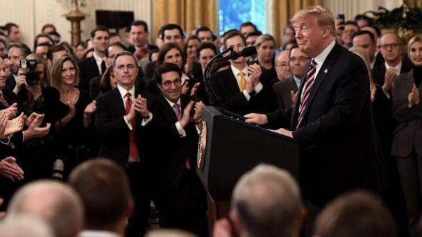 PHOTO: President Donald Trump speaks about his Senate impeachment trial in the East Room of the White House in Washington, D.C,, Feb.6, 2020. (Saul Loeb/AFP via Getty Images)